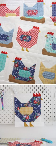 Easy Sewing Patterns, Quilt Block Patterns, Quilt Blocks, Quilting Patterns Free, Quilting Projects, Quilting Designs, Vogel Quilt, Chicken Quilt, Cute Sewing Projects