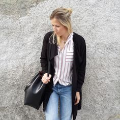 tifmys - H&M trench and denim, Zara shirt & Coccinelle Bilbao Bucketbag.