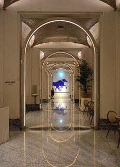 Arc illuminated linear flexible lighting Lucent Hotel Corridor, Corridor Lighting, Oversized Mirror, Staircases, Hallways, Inspiration, Spa, Home Decor, Hotel Hallway