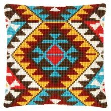 Ethnic Print Printed Cross Stitch Cushion Kit by Vervaco is a chunky cross stitch design which is printed on 5 count canvas for easy stitching. Cross Stitch Cushion, Cross Stitch Fabric, Cross Stitch Kits, Cross Stitch Designs, Cross Stitching, Cross Stitch Embroidery, Cross Stitch Patterns, Tapete Floral, Cross Stitch Numbers