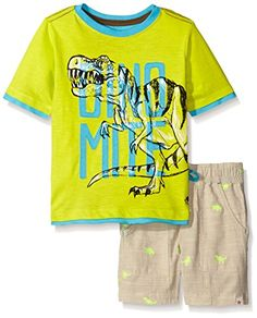 Hatley Little Boys Toddler 2 Piece Tee and Woven Short Set Green 2T ** More info could be found at the image url.Note:It is affiliate link to Amazon.