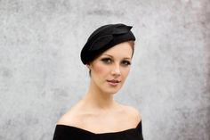 Vintage Style Beret Chic Felt Black Beret Day by MaggieMowbrayHats, £205.00
