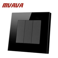 Mvava Push Button Light Wall Switch 3 Gang 2 Way 16A 250V Luxury Crystal Glass Panel Factory Direct Sale Button Switch Free Ship #Affiliate