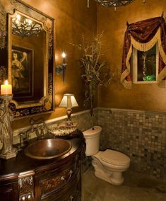 TUSCAN BATHROOM IDEAS – Luxurious and tasteful. Hats off for Tuscan bathroom style that marks one of the Italian high taste in art. We pick the theme . Dream Bathrooms, Beautiful Bathrooms, Small Bathroom, Bathroom Ideas, Romantic Bathrooms, Luxury Bathrooms, Tuscan Bathroom Decor, Bathroom Styling, Kitchen Decor