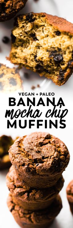 Sweet banana base, cold brew kick, and lots of chocolate chips make these #vegan and #paleo Banana Mocha Chip Muffins an ultra fluffy indulgent #breakfast or sweet treat!