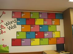 word wall...visually more simple than some of those craZy busy boards...Oh wow, I LOVE this look!!!