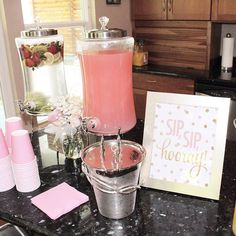 I LOVED our beverage bar from yesterday's pink+gold baby shower! That fruit-infused water was so yummy & the fruit added such a pretty little pop of color+texture – I just loved all of the attention to detail! I couldn't fit the whole bar in this shot, bu