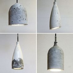 How to Use Plastic Bottles to Make Concrete Pendant Lamps via Brit + Co. Lights made from plastic bottles and concrete. Diy Luz, Diy Pendant Light, Pendant Lamps, Pendant Lights, Diy Light, Jar Chandelier, Globe Pendant, Chandeliers, Diy Luminaire