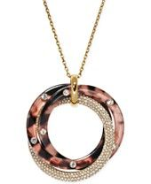 Michael Kors Rose Gold-Tone Tortoise-Look and Pavé Circle Pendant Necklace