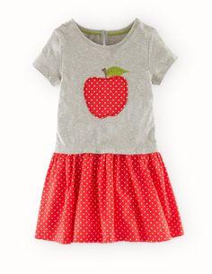 1st Grade - Mini-Boden - Hotchpotch Appliqué Dress in Grey Marl Apple