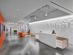 HOK was engaged by Chinese film company Alibaba Pictures, to design their first US offices located in Pasadena, California. Alibaba Pictures needed its Office Reception Design, Modern Reception Desk, Office Space Design, Office Designs, Reception Counter Design, Corporate Interior Design, Corporate Interiors, Office Interiors, Commercial Design