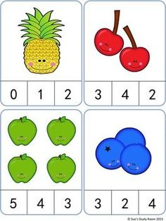 Fruit Count and Clip Cards: Numbers Fruit Count and Clip Cards: Numbers Preschool Learning Activities, Preschool Printables, Preschool Activities, Kids Learning, Numbers Preschool, Learning Numbers, Kindergarten Math Worksheets, Math For Kids, Math Centers