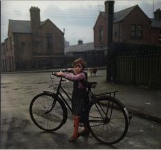 "raiseyourseat: ""Girl with the bicycle, Dublin, 1966 and the photography of Evelyn Hofer. She barely reaches the pedals. "" I'm crazy about this shot, Dublin in anniversary of the Easter. Color Photography, Street Photography, Vintage Photography, Narrative Photography, Photography Exhibition, Heart Photography, Candid Photography, Documentary Photography, Inspiring Art"