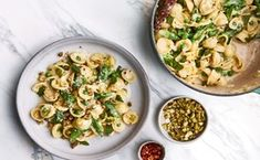 Orecchiette with Buttermilk, Peas, and Pistachios / Photo by Chelsie Craig, Prop Styling by Emily Eisen, Food Styling by Molly Baz