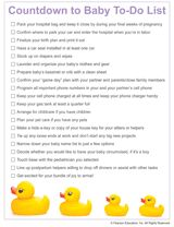 Printable Countdown to Baby To-Do List! Do you have all your ducks in a row, from packing your hospital bag to choosing a name? #pregnancy