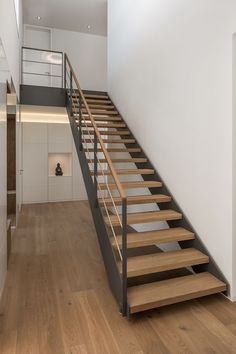 Steel or no steel on enclosed stairs? Diy Staircase Railing, Interior Stair Railing, Floating Staircase, Staircase Design, Steel Stairs, Wood Stairs, House Stairs, Steps Design, Modern Stairs
