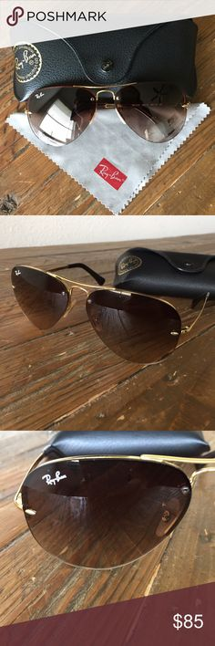 Ray-Ban Aviators 💯 Authentic Ray-Ban Aviator Sunglasses.  Comes with case and cloth.  Gently worn with some very small scratches, shown in last pic. Ray-Ban Accessories Sunglasses