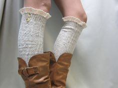 Natural speckled tall lace boot socks by CatherineColeStudio, Etsy, 29.50  Made in USA.