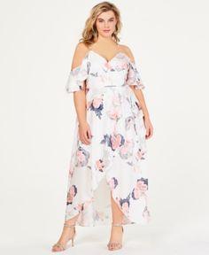 31d22259832 City Chic Trendy Plus Size Cold-Shoulder Maxi Dress - White 14W