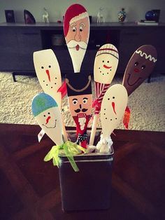 Painted Holiday Wooden Spoons | Click Pic for 20 DIY Christmas Decorations for Home Cheap | DIY Christmas Decorations Dollar Store
