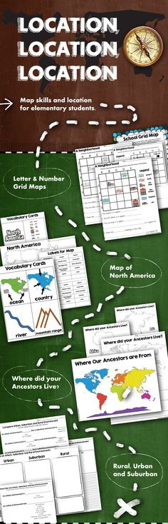 Learn map skills in elementary school.  • Letter & Number Grid Maps  • Map of North America  • Where did your Ancestors Live?  • Rural, Urban, and Suburban | Map Elements | Heritage | Compare & Contrast | Teaching Social Studies | Elementary Education | Second Grade | Map Unit | Map Curriculum | Scaffolded Curriculum