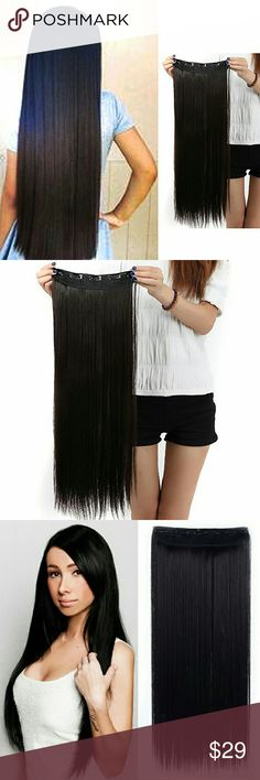 Black One Piece Clip In Extension 24-26 inch Premium quality clip in hair extensions with hair volume to make up your head, or to add extra volume and length all over. The hairs are silky and soft, Grade A, 140 grams  This item is most popular synthetic hair extensions product all over the world! Whether you want long hair or are looking to add volume to your hair; our full head set is the answer. Specifications: Professional salon quality  Hair Type: 100% super quality clip in synthetic…