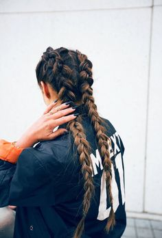 Two braids french long hair ombre