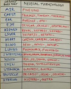Nursing Notes Discover Medical terminology (prefixes and suffixes) to describe things related to different organs More memes funny videos and pics on Medical Facts, Medical Information, Medical Science, Medical Careers, Medical Blogs, Funny Medical, Medical Billing, Computer Science, Nursing School Notes