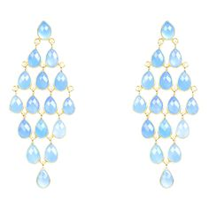 22ct gold plated earring on sterling silver in blue chalcedony. This stunning cascade earring features 32 individually faceted teardrop natural stones. Handcraf