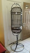Wrought Iron Bird Cage Stand | Antique Vintage French VICTORIAN Coiled Wire & Wood BIRD CAGE, Yellow ...