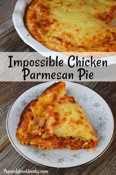 chicken parmesan Impossible Chicken Parmesan Pie is impossibly easy to throw together for a quick weeknight meal. Three layers of cheesy goodness combine to form a pizza pie that the Cookbook Recipes, My Recipes, Italian Recipes, Cooking Recipes, Favorite Recipes, Recipies, Can Chicken Recipes, Chicken Pie Recipe Easy, Slow Cooker