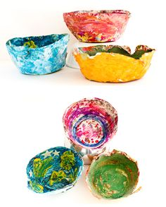Paper mache bowls...I can see the kids really enjoying making these.