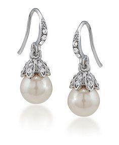 Carolee Earrings, Small Glass Pearl Drop Earrings - Fashion Earrings - Jewelry & Watches - Macy's
