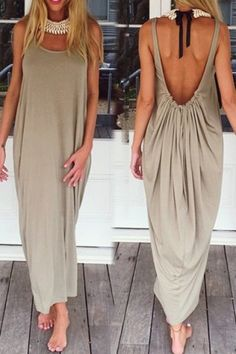 Casual U Neck Sleeveless Backless Loose-Fitting Dress For Women