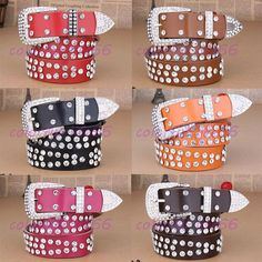 HOT Fashion Western Rhinestone Rodeo Horse Belt Studed Cowgirl Bling 3 Colors #own