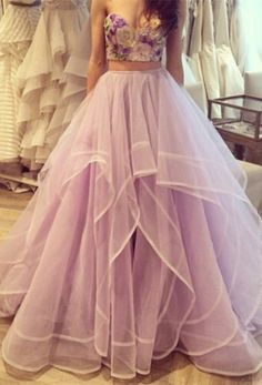 $159--Do you fall into this two pieces flowers tulle prom dress? www.27dress.com