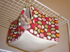 """Medium Curtain Cube Hammock """"Hearts on Brown Print with Tan/Creme Fleece Lining"""" Rat, Ferret, Sugar Glider Sugar Glider Toys, Sugar Gliders, Hamsters, Rodents, Critter Nation Cage, Diy Rat Toys, Rat Hammock, Rat Cage, Toy House"""