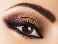 Earth tone smokey eye. Try Merle Norman eyeshadow in Frozen Cocoa and Golddigger!