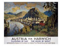 Austria via Harwich British Railways Poster Print Posters Uk, Railway Posters, Online Posters, Poster Prints, British Railways, Tourist Agency, Tourism Poster, Vintage Travel Posters, Poster Vintage