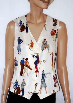 LES COPAINS Vintage Gilet, Sportwear, Women Vest, Waistcoat, Gilè, Colorful Printed Pattern, White Ivory, Size M, UK 12, Taglia 42/44, di BeHappieWorld su Etsy
