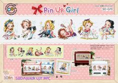 """SODAstitch's original design(Manufactured in Korea). """"Pin up Girl"""" Cross stitch Kit. - Stitch countW 339 count × H 63 count. - Brant New Kit Contains. - Contains color chart with symbols and Floss conversions for DMC, ANC, Yeidam. 