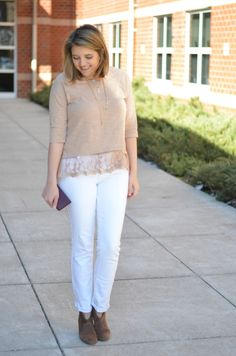 neutrals for spring: white denim with tan lace top