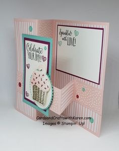 Stampin' Up! double Z fold, hello cupcake Z Cards, Bday Cards, Kids Cards, Easel Cards, Greeting Cards, Fancy Fold Cards, Folded Cards, Envelope Punch Board, Stampin Up Anleitung
