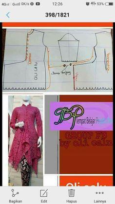 Model Kebaya Modern, Kebaya Modern Dress, Batik Fashion, Fashion Sewing, Barbie Sewing Patterns, Clothing Patterns, Sewing Sleeves, Sleeves Designs For Dresses, Kurta Designs Women
