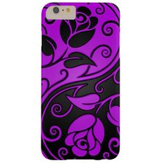 Purple and Black Yin Yang Roses Barely There iPhone 6 Plus Case Artwork designed by UniqueYinYangs. Made by Case-Mate in Norcross, GA.
