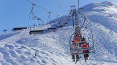 Late season skiing, access to the top of the slopes via ski lift.