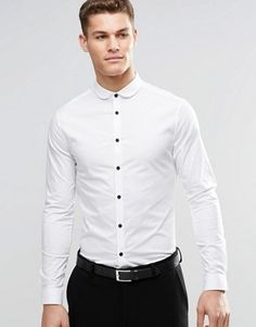 10aead0e241e ASOS   ASOS Skinny Shirt In White With Curve Collar And Contrast Buttons  Burton Menswear,