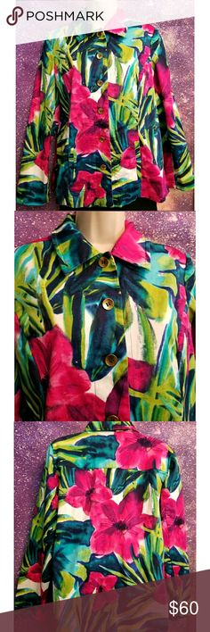 Beautiful Floral Jacket Chico's Chico's Floral Jacket Excellent Condition Size 2 Chico's Jackets & Coats