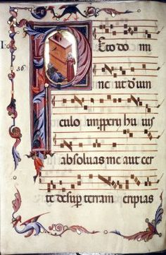 Collection:     Medieval and Renaissance Manuscripts  Shelfmark:     MS. Don. a. 11  Type of object:     manuscript  Material:     parchment  Title text:     Antiphonal (fragments).  Country or nationality of origin:     Italian  Place of origin:     Pisa  Date:     14th century, middle to late  Folio or page no.:     fol. 005v  Whole page or detail:     whole page  Image description:     Whole page with initial P[eto]: Tobit blinded.  Roll title:     MS. Don. a. 11. Italian…