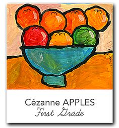Video and lesson plan that shows kids how to draw and paint a stunning fruit bowl still life in the style of Paul Cézanne